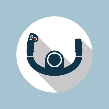Aircraft control wheel flat design icon inside white circle isolated on one-color background. Vector illustration in EPS10 format with transparency.