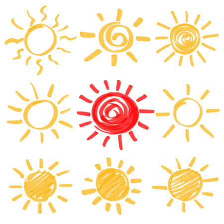 optimized: Highlighter marker summer sun design elements. Set of sun symbols hand drawn by yellow and red highlighters. Optimized for one click color changes.