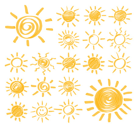 optimized: Highlighter marker summer sun design elements. Set of vector sun symbols hand drawn by yellow highlighter. Optimized for one click color changes. Illustration