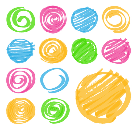 optimized: Highlighter marker hand drawn design elements. Set of highlighter shaded circles and spirals in different colors. Optimized for one click color changes.