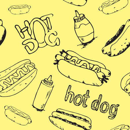 mayonnaise: Hand drawn hot dogs seamless pattern. Fast food background. Seamless texture from sketches of hotdogs with sauce, mayonnaise and vegetables.