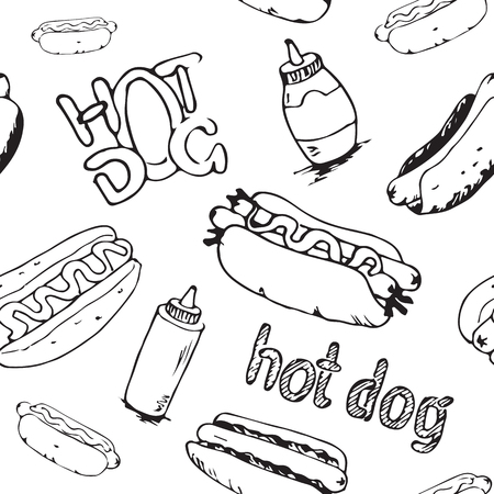 catsup: Hand drawn hot dogs seamless pattern. Fast food background. Seamless texture from sketches of hotdogs with sauce, mayonnaise and vegetables.