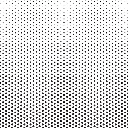 Halftone dots pattern. Dotted gradient background with fade effect. Black circles on white. Horizontally seamless.