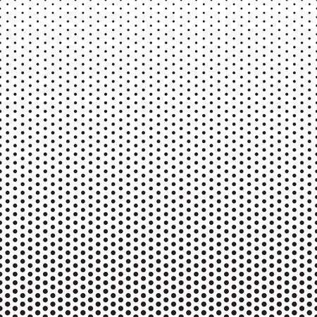 Medios tonos patrón de puntos. el fondo del gradiente de puntos con efecto de desvanecimiento. Círculos negros en blanco. Horizontalmente sin fisuras.