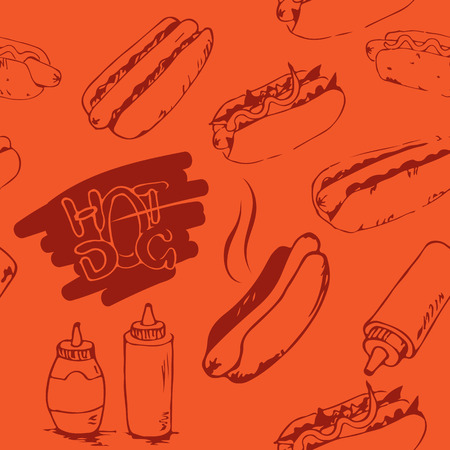 hotdogs: Hotdog seamless pattern hand drawn. Fast food design element. Seamless texture from sketches of hotdogs with sauce, mayonnaise and vegetables. Illustration