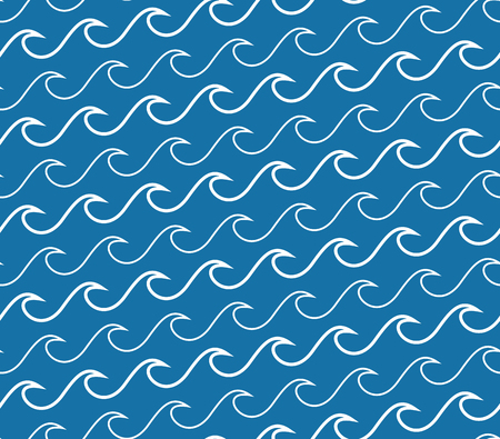 Abstract waves seamless pattern. Repeating texture with white wavy lines on navy blue background.