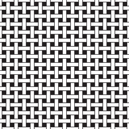 Basket weave seamless pattern. Wicker repeating texture. Braiding continuous background of intersecting perpendicular stripes. Geometric vector illustration in black and white colors. Иллюстрация