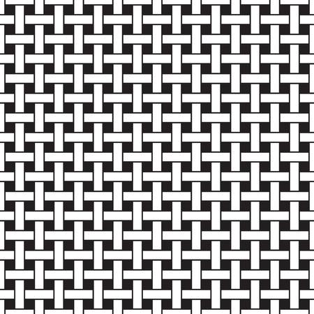 Mand weven naadloos patroon. Wicker herhalen textuur. Vlechten continue achtergrond van kruisende loodrecht strepen. Geometrische vector illustratie in zwart en wit kleuren.
