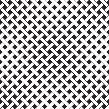 Basket weave seamless pattern. Braiding continuous background of diagonal intersecting perpendicular stripes. Wicker repeating texture. Geometric vector illustration in black and white colors. Vettoriali