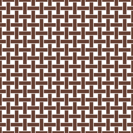 matting: Wicker seamless pattern. Basket weave repeating texture. Braiding continuous background of vertical and horizontal intersecting perpendicular stripes. Geometric vector illustration in brown tones.