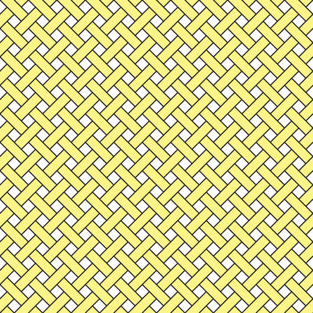 Basket weave seamless pattern. Braiding continuous background of diagonal intersecting perpendicular stripes. Wicker repeating texture. Geometric vector illustration in yellow tones.