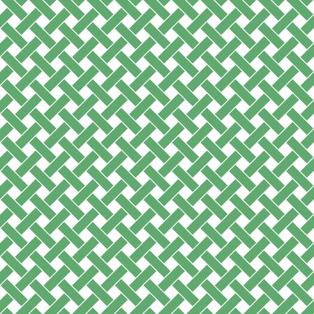 Basket Weave pattern. Tressage fond continu des diagonales rayures intersection perpendiculaires. Wicker répéter texture. Géométrique illustration de vecteur dans les tons verts.