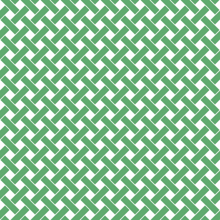 Basket weave seamless pattern. Braiding continuous background of diagonal intersecting perpendicular stripes. Wicker repeating texture. Geometric vector illustration in green tones.