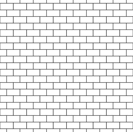 Witte bakstenen muur naadloos patroon. Herhaling van textuur van metselwerk. Continu bakstenen achtergrond. Eenvoudige vector illustratie met metselen.