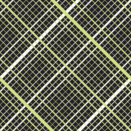 perpendicular: Intersecting diagonal lined seamless pattern. Repeating mesh texture with perpendicular crossing lines and stripes on dark background. Grid checkered vector illustration.