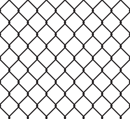 chained link fence: Metallic wired fence seamless pattern. Steel wire mesh isolated on white background.