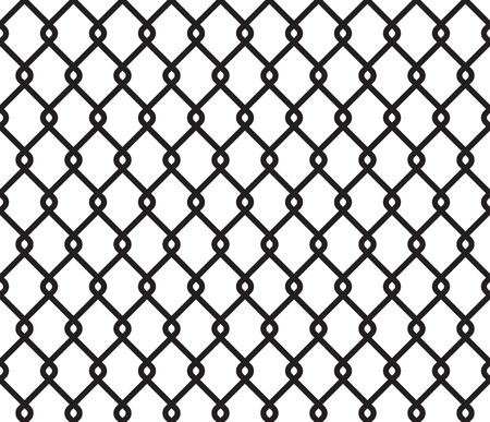 enclose: Metallic wired fence seamless pattern. Steel wire mesh isolated on white background.