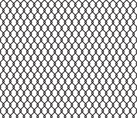 chainlink: Metallic wired fence seamless pattern. Steel wire mesh isolated on white background.