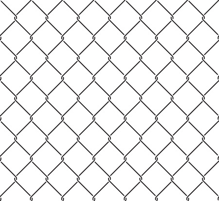 wired: Metallic wired fence seamless pattern. Steel wire mesh isolated on white background.