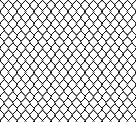 chainlink fence: Metallic wired fence seamless pattern. Steel wire mesh isolated on white background.