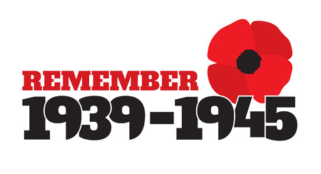 allied: World War II commemorative symbol with dates 1939-1945, stylized poppies and phrase remember.