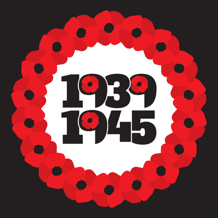 memory card: World War II commemorative symbol with dates 1939-1945, wreath with stylized poppies and phrase remember.