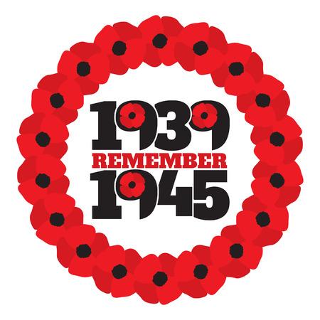 symbole commémoratif de la Seconde Guerre mondiale avec les dates 1939-1945, couronne de coquelicots stylisés et la phrase se souvenir.