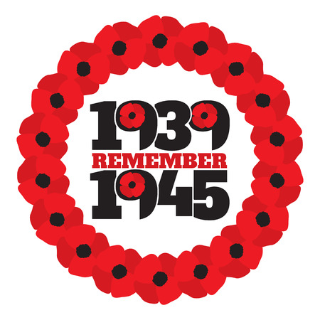 world war 2: World War II commemorative symbol with dates 1939-1945, wreath with stylized poppies and phrase remember.
