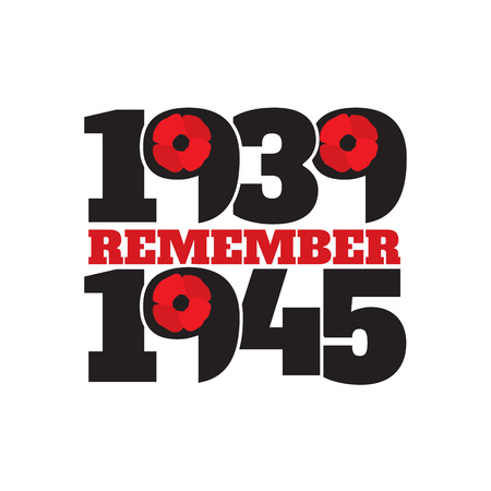 world war two: World War II commemorative symbol with dates 1939-1945 and phrase remember.