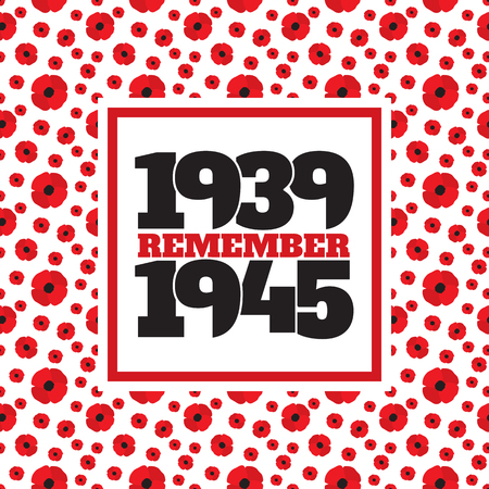 world war ii: World War II commemorative symbol with dates 1939-1945 and phrase remember inside frame from poppies.
