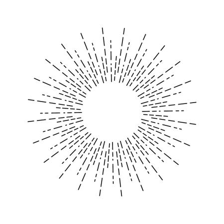 Dessin linéaire des rayons de soleil en style vintage. Sunburst isolé sur fond blanc. Rétro symbole stylisé du soleil.