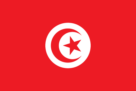 Flag of Tunisia. Tunisian state symbol. Rectangular banner with crescent surrounding five-pointed star in the center. Illustration