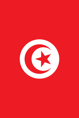 tun: Flag of Tunisia. Rectangular banner with crescent surrounding five-pointed star in the center. Vertical placement. Illustration