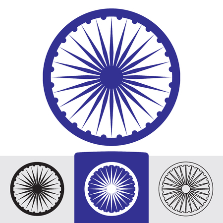 spokes: Ashoka wheel with 24 spokes. Indian symbol. Illustration