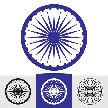 nirvana: Ashoka wheel with 24 spokes. Indian symbol. Illustration