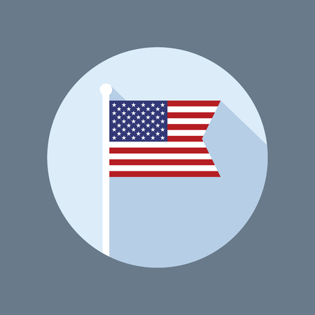 flagpole: USA national flag on flagpole vector flat icon. Vector icon of American flag in flat style with long shadow. Illustration