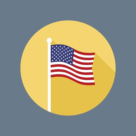 flagpole: USA national flag on flagstaff vector flat icon. Vector icon of American flag in flat style with long shadow.