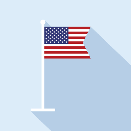 flagpole: USA flag on flagpole vector flat icon. Vector icon of American flag in flat style with long shadow. Flat icon with national star-spangled banner.