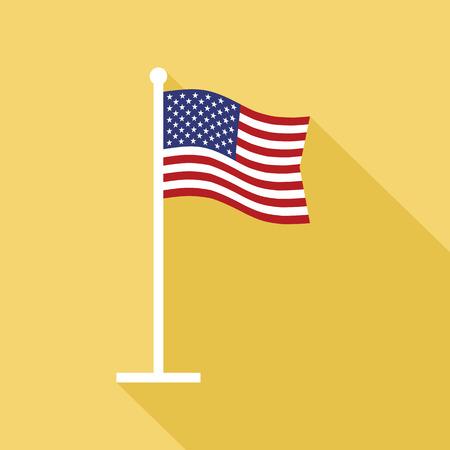旗竿ベクトル フラット アイコンでのアメリカ合衆国の国旗。長い影をフラット スタイルでアメリカ国旗のベクター アイコン。星条旗とフラット ア
