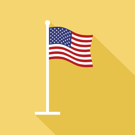 star spangled: National flag of USA on flagpole vector flat icon. Vector icon of American flag in flat style with long shadow. Flat icon with star-spangled banner.