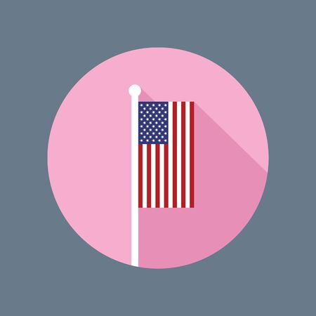 flagpole: Vector flat icon of USA national flag in vertical position on flagpole. American flag in flat style with long shadow.