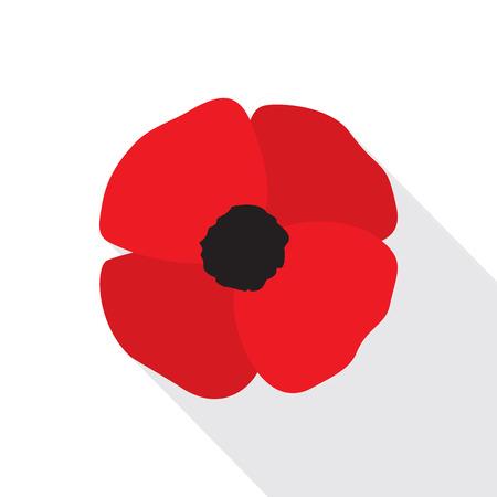 Red poppy flat icon. Stylized flower symbol. Vettoriali