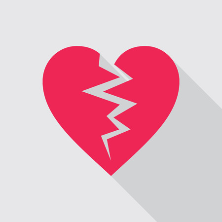 live feeling: Red broken heart flat icon on gray background. Symbol of cracked heart.