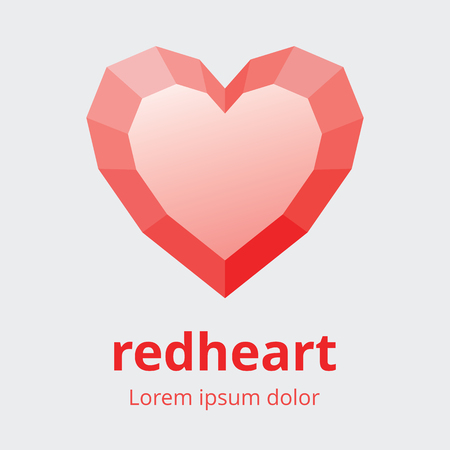 Faceted heart symbol. Polygonal multifaceted heart icon. Red heart with faces design element.