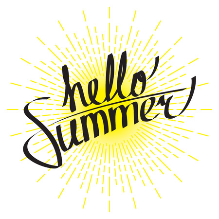Hello summer lettering composition with linear drawing of sunshine rays in vintage style on white background. Illustration