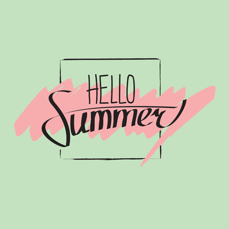 the greenish: Hello summer lettering composition. Black letters on greenish background with pink marker strokes.