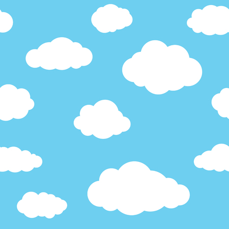 white sky: Clouds seamless pattern. Vivid blue continuous background with white sky cloudlets. Illustration