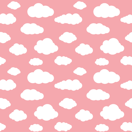 white sky: Clouds seamless pattern. Vivid pink background with white sky cloudlets.