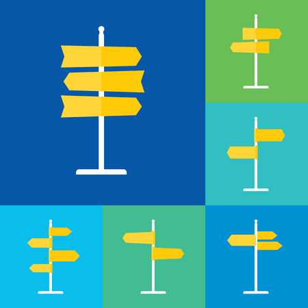 navigational: Set of road sign flat icons. Signpost icons in flat style. Blank template for navigational text.