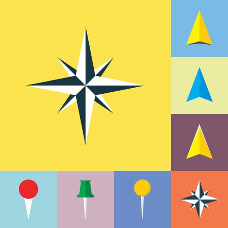 Set of navigational flat icons. Wind rose, navigation pointer, arrow symbol, location marker, pin icons. Illustration